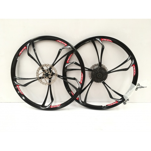 Pair Of 26 Mountain Bike 5 Spoke Magnesium Alloy Mag Wheels Black